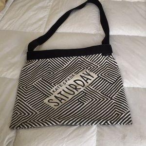 Black and white Kate Spade canvas shoulder bag
